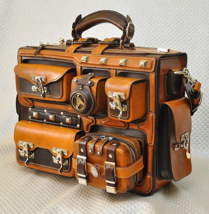 Leather briefcase. Leather handmade bag. Handbag. Leather image 0
