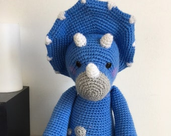 cuddly plush dinausore blue triceratops, amigurumi, crochet, room decoration, boy gift