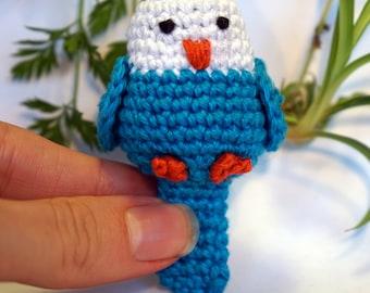 bird: parrot, canary, quaker plushie keychain - crochet amigurumi