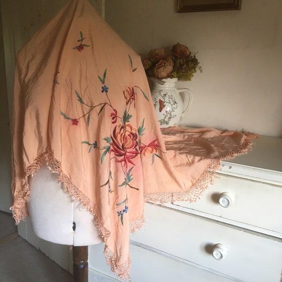 Pink silk antique piano shawl