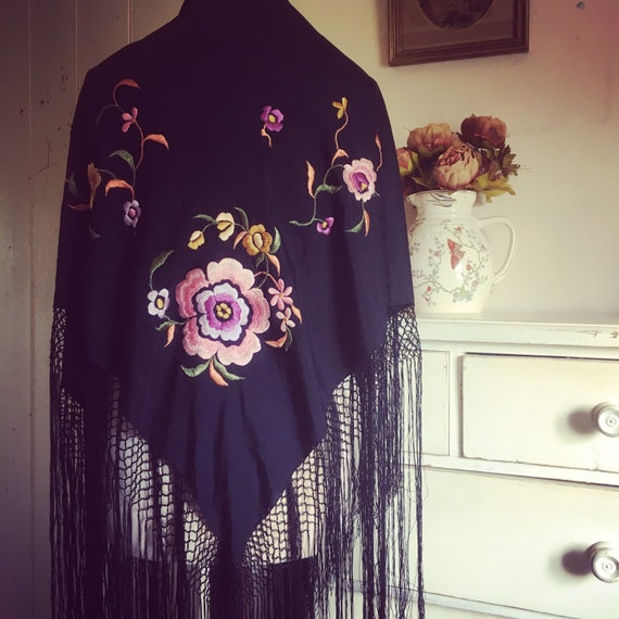 Antique silk embroidered piano shawl - image 1