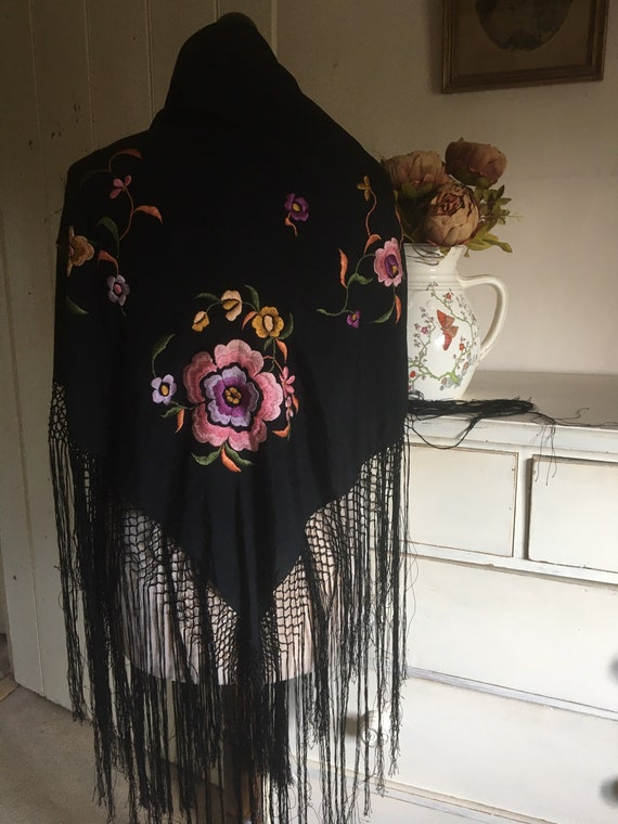Antique silk embroidered piano shawl - image 6