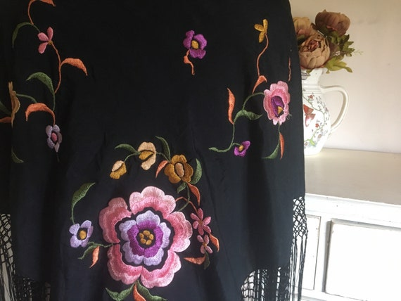 Antique silk embroidered piano shawl - image 2