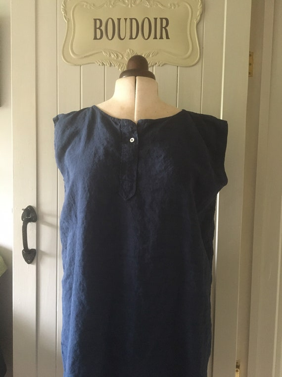 French antique linen chemise overshirt