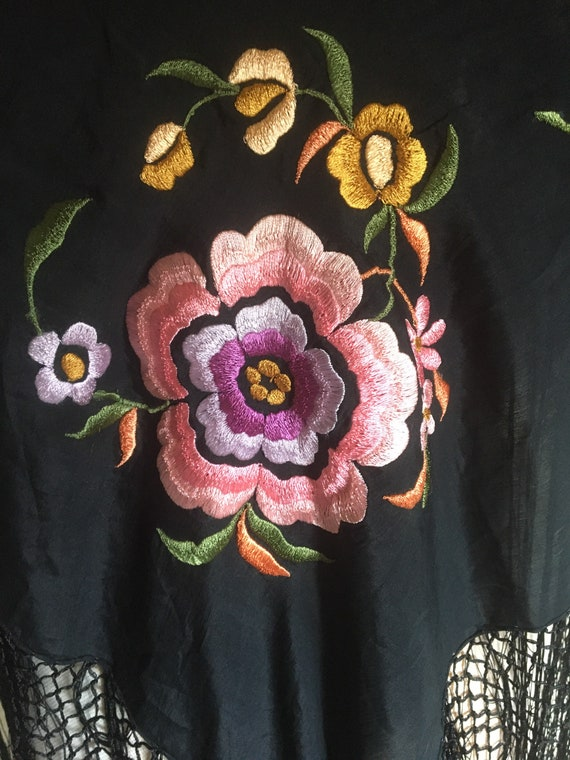 Antique silk embroidered piano shawl - image 4
