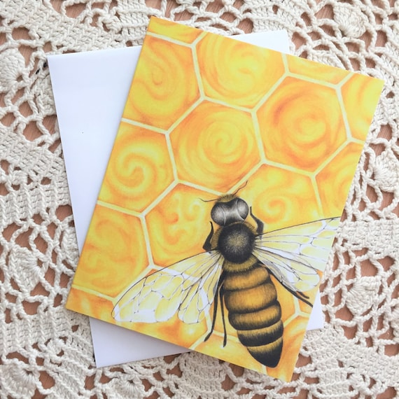 Bee /& Honeycomb greeting card Sweet as Honey Save the Bees Garden Art