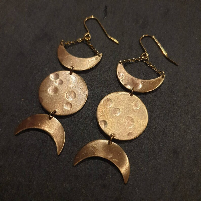 Triple Goddess Earrings Tribal Moon Earrings Moon Magic Collection Hammered Bronze