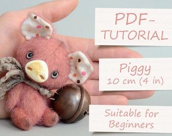 "Miniature Teddy Pig Pattern (4""/10cm)"