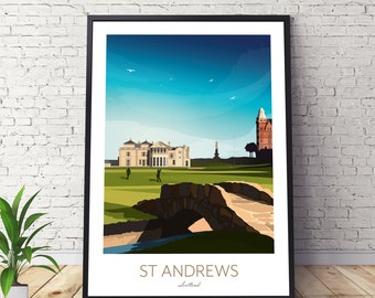 St Andrews Golf Print Scotland - Old Course 18th Hole