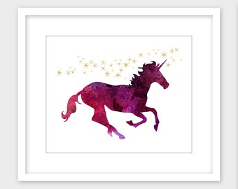 Unicorn Printable Art, Unicorn Wall Art Print, Children's Room Decor Instant Digital Download