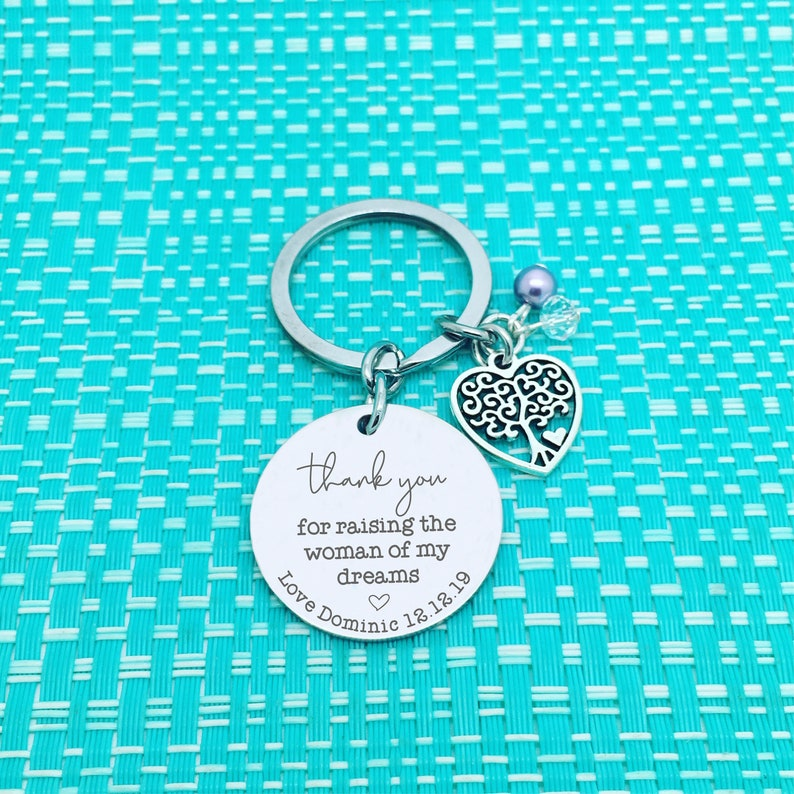 Thank You For Raising The Man Of My Dreams Personalized Silver Keychain  Mother Of The Groom Gift From Bride  Mother Of The Bride Gift