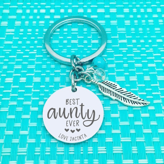 Detailed Auntie Saurus Key Ring Funny Aunt to Be Aunt Gifts