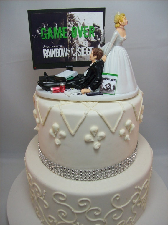 Game Over Gamer Funny Wedding Cake Topper Video Game Gaming Etsy