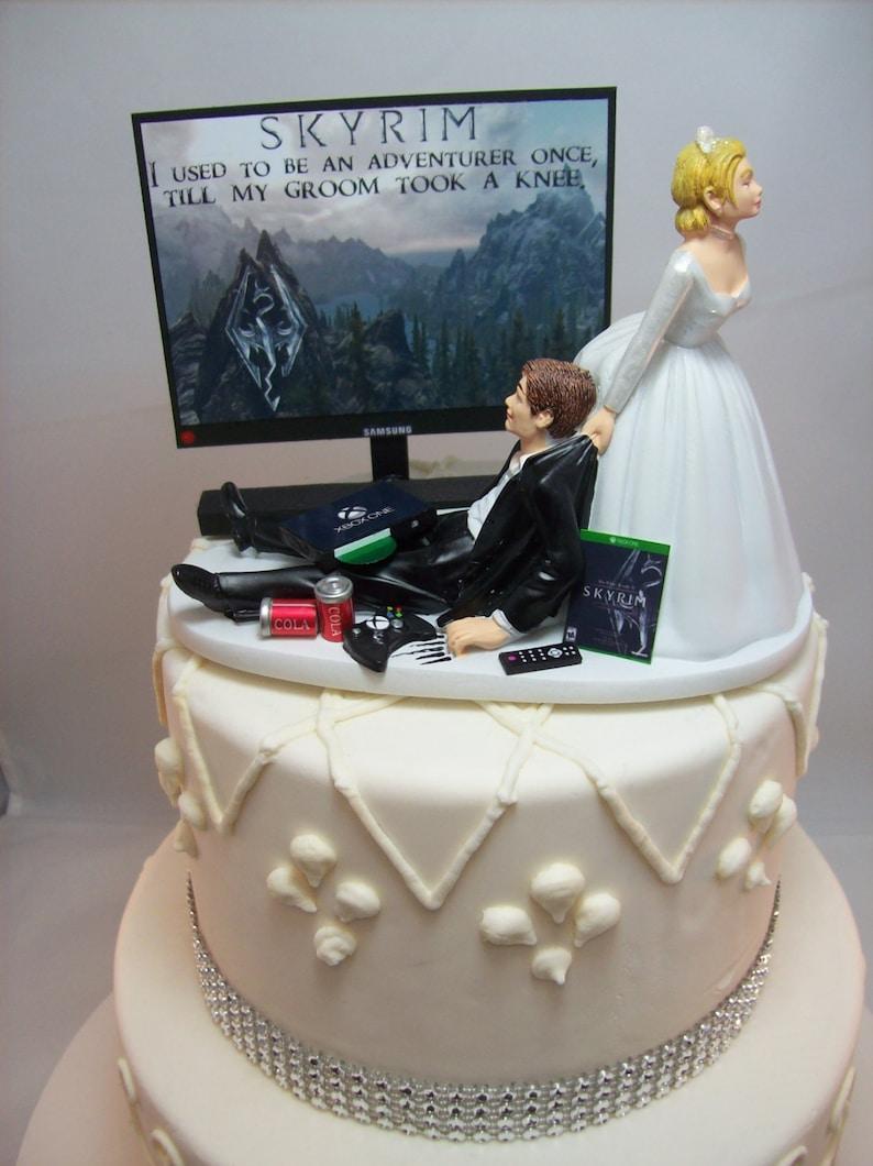 Gamer Funny Wedding Cake Topper Sky Video Game Gaming Junkie Etsy