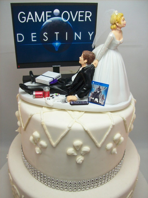 Gamer Funny Wedding Cake Topper Dest Game Over Video Game Etsy