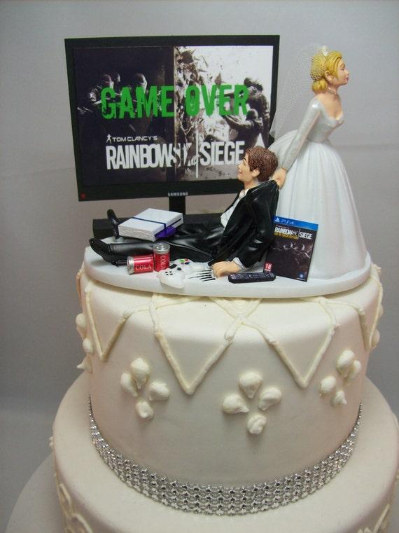 Game Over Gamer Funny Wedding Cake Topper Rain 6 Video Game Etsy