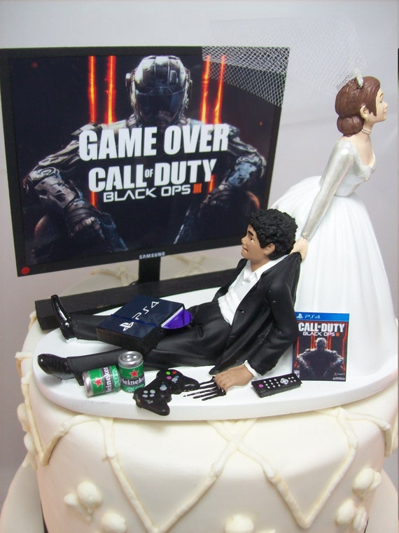 Video Game Cod Ops Funny Wedding Cake Topper Gamer Junkie Etsy