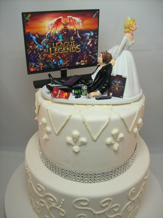 Gamer Funny Wedding Cake Topper Lol Video Game Gaming Junkie Etsy
