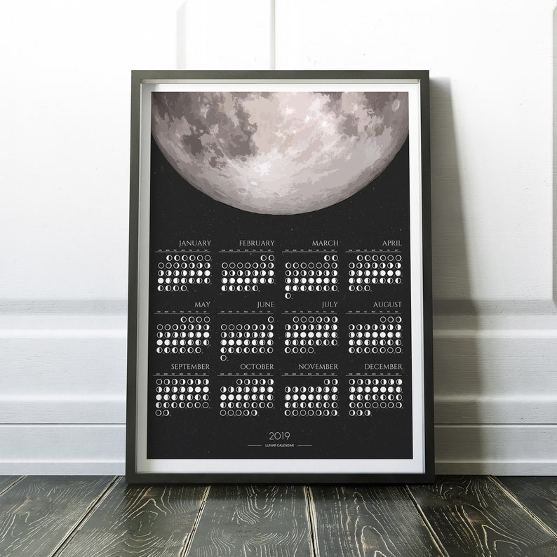 2019 Monthly Lunar Calendar, Monthly Calendar of 2019, 2019 Calendar, Moon  Phase Calendar, Moon Calendar, Calendar of 2019