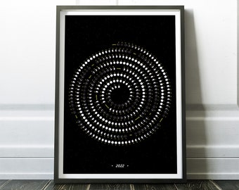 2022 Moon Calendar, Moon Phase Calendar,  2022 Phases of Moon Poster, Celestial Events for 2022, Wall Calendar for New Year Gift Idea