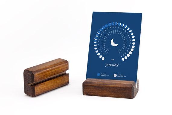Calendrier lunaire 2021 avec stand en bois calendrier de   Etsy