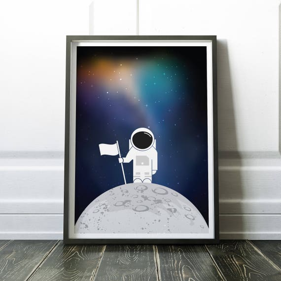 "Astronaut on the Moon Outer Space 42/"" x 24/"" LARGE WALL POSTER PRINT NEW"