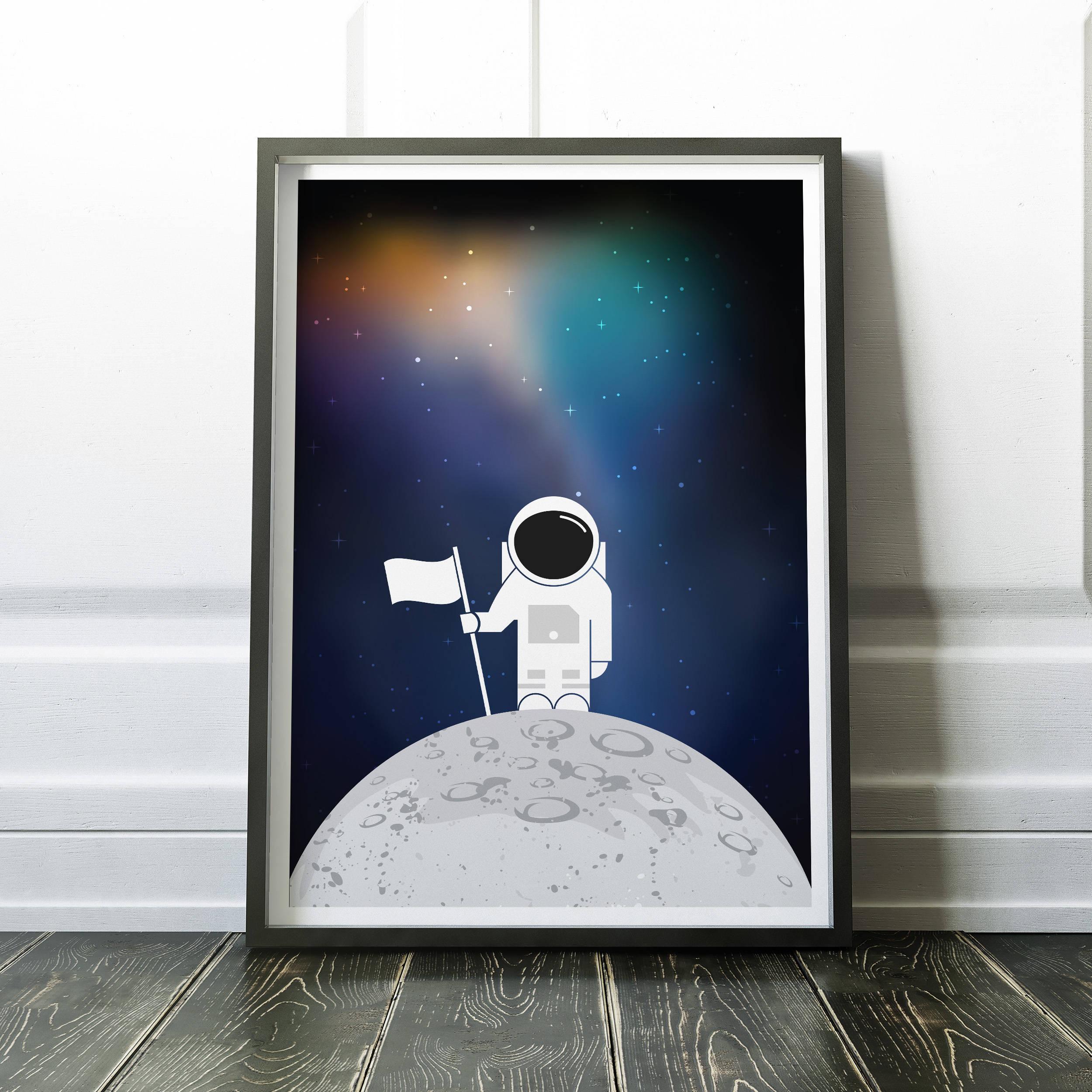 Abenteurer Astronaut Druck Mond-Druck Solar System drucken   Etsy