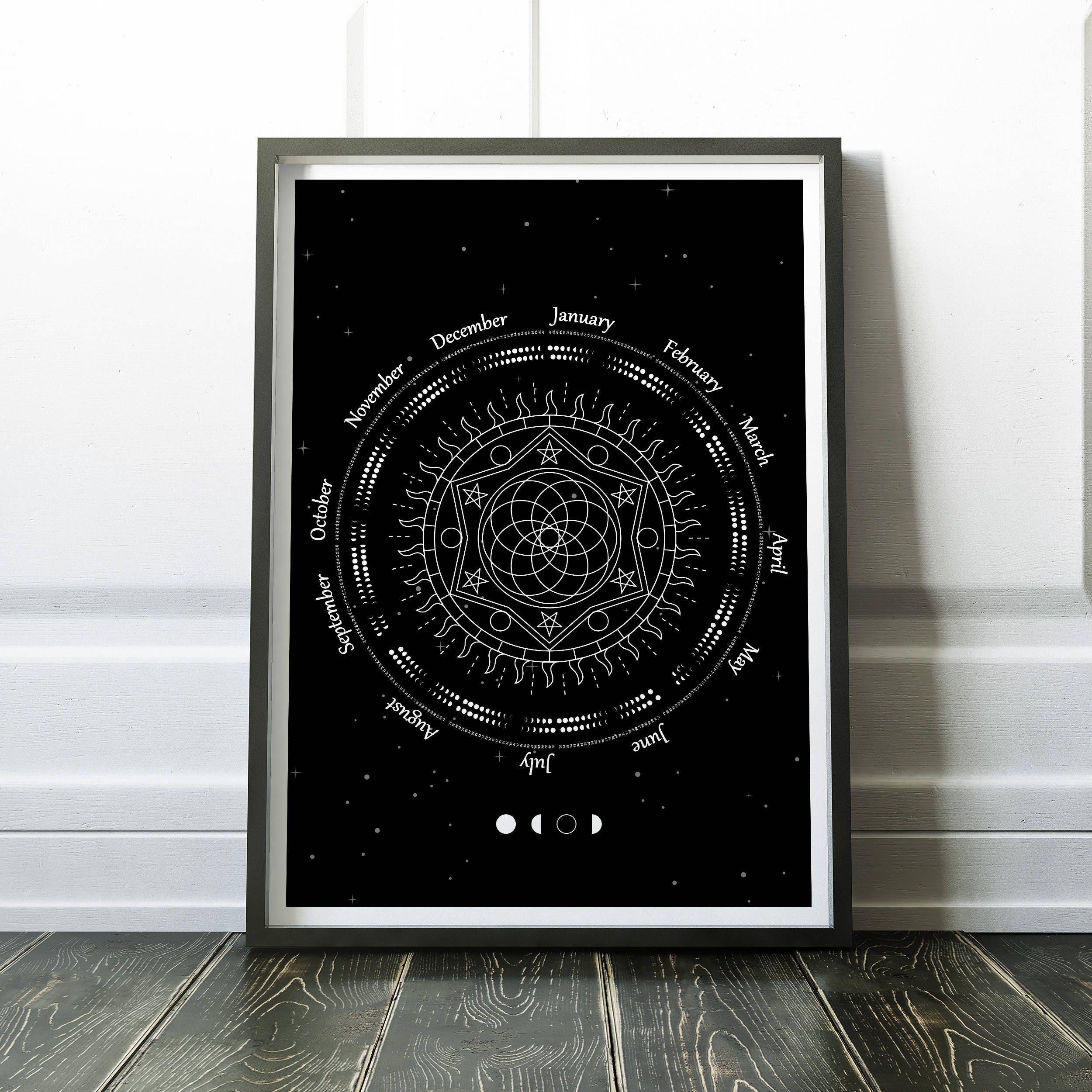 2018 Mondkalender Mond-Phase-Kalender Mond-Kalender 2018   Etsy