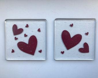 Fused Glass Heart Coasters