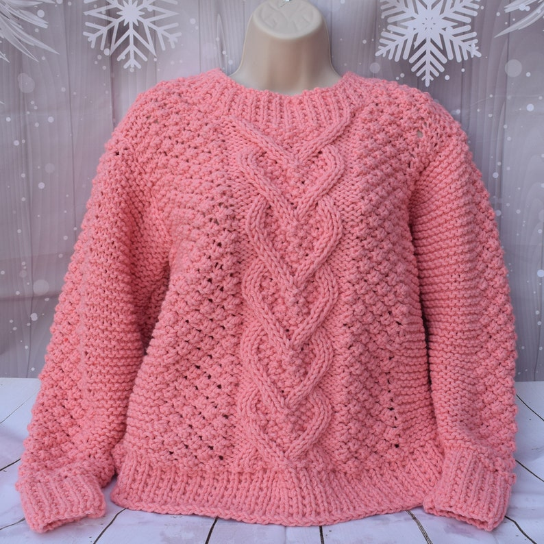 f383db11fb17 Hand knit sweater pattern heart cable pullover knitting
