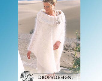 Wedding Pocho with large neck and crochet flowers, in soft Alpaca mix yarn