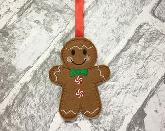 Gingerbread man christmas decoration, Felt gingerbread man, Christmas tree decoration, Stocking filler, Festive decor, Ginger bread man
