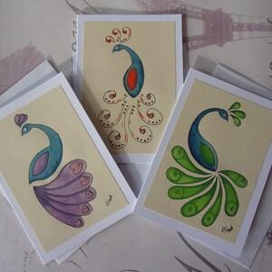 Peacock Card Birthday card Handmade Watercolour Blank Card Greetings Card Anniversary Card Engagement Valentines Day Card love card