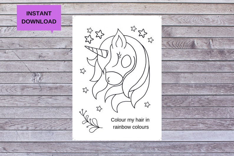Kids Colouring Pages Unicorn Colouring Pages Digital | Etsy