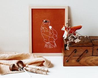 Embroidered lingoravure - Archie, autumn portrait