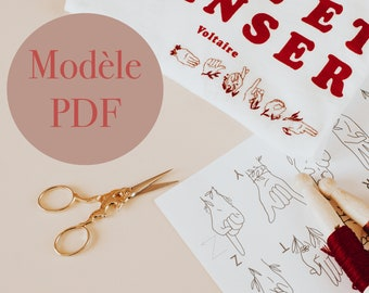 Signs (PDF) - Alphabet flowery embroidery model LSF - French sign language