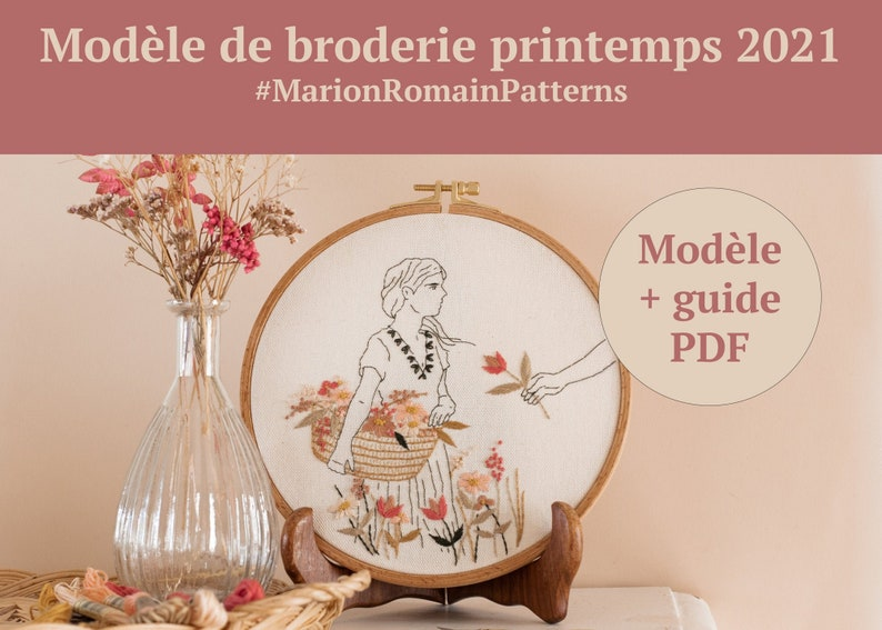 Modèle de broderie PDF  Balade fleurie  Printemps 2021  image 0