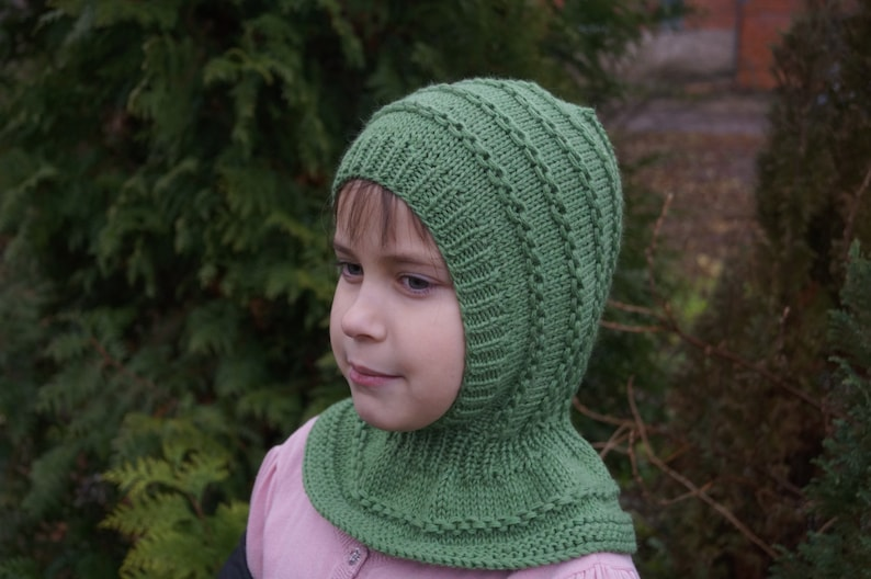 ca8b2c93e15 Kids balaclava. Green Child Balaclava. Merino Wool Balaclava.