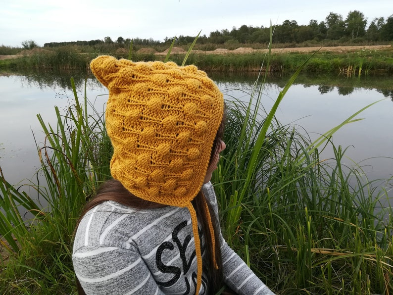 Handmade knitted hat.Bobble Bonnet ToddlerChildAdult hat.Elf hat.Mustard hat Pixie Bonnet.Merino /& Alpaca Wool hat. Baby Pixie Hat