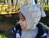 Merino Wool Balaclava. Hat and scarf all in one.Pixie hat.Baby Toddler Children Adult Elf hat.Hoodie hat with Neck warmer.Cream winter hat