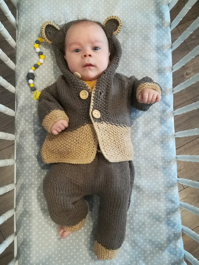 Knitted brown baby bear set.Soft cotton Bear cardigan and trousers.Baby outfit  suitable for sensitive skin.READY TO SHIP 0-3 months
