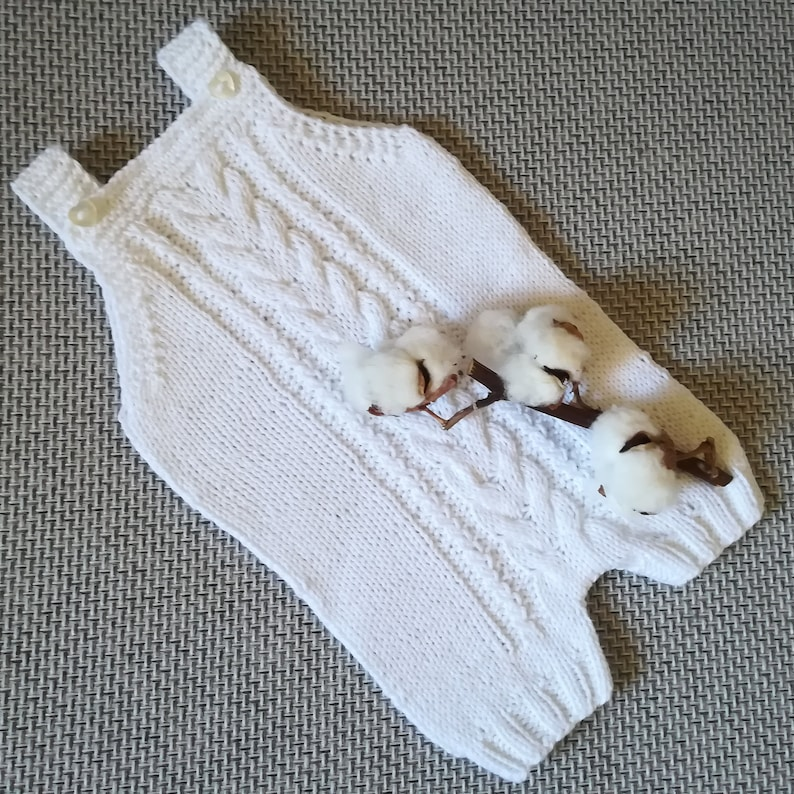 Knitted baby romper,baby body suit,baby pants,newborn baby photo prop cotton romper white romper,Vegan friendly.READY TO SHIP 0-6 months