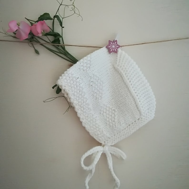 a818113f0cd Knitted baby hat baby bonnetwhite bonnetbaptism