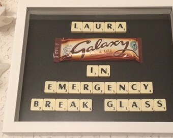 Scrabble personalised chocolate frame - In Emergency Break Glass
