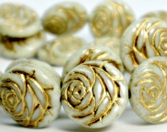 Carved Rose Beads (17mm), Light Celery w/ Gold Wash Detailing, Czech Glass Flower Beads (4pc), DIY Jewelry, Bead Supply