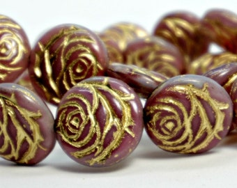 Carved Rose Beads (17mm), Dark Mauve w/ Gold Wash Detailing, Czech Glass Flower Beads (4pc), DIY Jewelry, Bead Supply