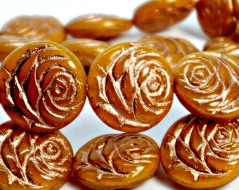 Carved Rose Beads (17mm), Orange Marmalade w/Copper Wash Detailing, Czech Glass Flower Beads (4pc), DIY Jewelry, Bead Supply