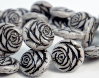Carved Rose Beads (17mm), Antique Gray w/Black Wash, Czech Glass Flower Beads (4pc), DIY Jewelry, Bead Supply