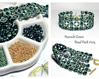 Bead Pack DIY Jewelry Supply, Peacock Green Polychrome Mint Chocolate BEAD PACK , Deb Roberti's Labyrinth Bracelet Tutorial Sold Separately