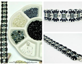 Jet Picasso & Silver Bead Pack, Deb Roberti's MiniDuo Bands Bracelet Tutorial Sold Separately, DIY Jewelry, Bead Supply